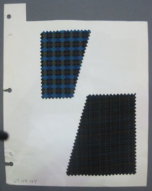 Fab-Tex Inc.. <em>Fabric Swatch</em>, 1963-1966. Cotton and wool, sheet: 8 1/4 x 10 1/2 in. (21 x 26.7 cm). Brooklyn Museum, Gift of Fab-Tex Inc., 67.158.147 (Photo: Brooklyn Museum, CUR.67.158.147.jpg)