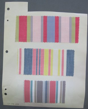 Fab-Tex Inc.. <em>Fabric Swatch</em>, 1963-1966. Cotton, sheet: 8 1/4 x 10 1/2 in. (21 x 26.7 cm). Brooklyn Museum, Gift of Fab-Tex Inc., 67.158.158 (Photo: Brooklyn Museum, CUR.67.158.158.jpg)
