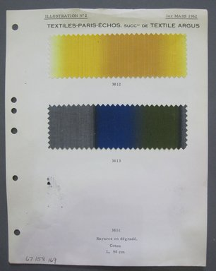Fab-Tex Inc.. <em>Fabric Swatch</em>, 1962. Cotton, sheet: 8 1/4 x 10 1/2 in. (21 x 26.7 cm). Brooklyn Museum, Gift of Fab-Tex Inc., 67.158.169 (Photo: Brooklyn Museum, CUR.67.158.169.jpg)