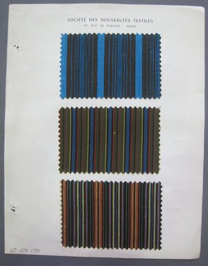 Fab-Tex Inc.. <em>Fabric Swatch</em>, 1963-1966. Cotton and/or synthetic, sheet: 8 1/4 x 10 1/2 in. (21 x 26.7 cm). Brooklyn Museum, Gift of Fab-Tex Inc., 67.158.170 (Photo: Brooklyn Museum, CUR.67.158.170.jpg)