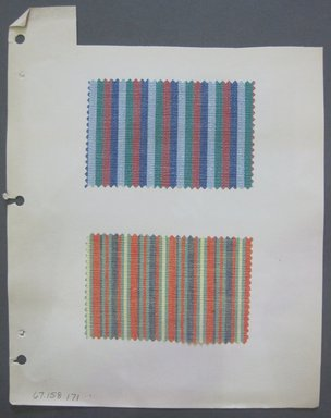Fab-Tex Inc.. <em>Fabric Swatch</em>, 1963-1966. Cotton and/or synthetic, sheet: 8 1/4 x 10 1/2 in. (21 x 26.7 cm). Brooklyn Museum, Gift of Fab-Tex Inc., 67.158.171 (Photo: Brooklyn Museum, CUR.67.158.171.jpg)