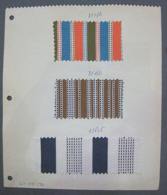 Fab-Tex Inc.. <em>Fabric Swatch</em>, 1963-1966. Cotton, sheet: 8 1/4 x 9 1/2 in. (21 x 24.1 cm). Brooklyn Museum, Gift of Fab-Tex Inc., 67.158.176 (Photo: Brooklyn Museum, CUR.67.158.176.jpg)