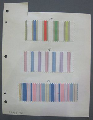 Fab-Tex Inc.. <em>Fabric Swatch</em>, 1963-1966. Cotton, sheet: 8 1/4 x 10 1/2 in. (21 x 26.7 cm). Brooklyn Museum, Gift of Fab-Tex Inc., 67.158.182 (Photo: Brooklyn Museum, CUR.67.158.182.jpg)