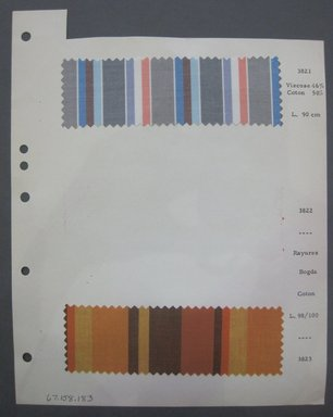 Fab-Tex Inc.. <em>Fabric Swatch</em>, 1963-1966. Cotton and synthetic, sheet: 8 1/4 x 10 1/2 in. (21 x 26.7 cm). Brooklyn Museum, Gift of Fab-Tex Inc., 67.158.183 (Photo: Brooklyn Museum, CUR.67.158.183.jpg)