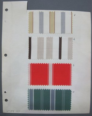 Fab-Tex Inc.. <em>Fabric Swatch</em>, 1963-1966. Cotton and synthetic, sheet: 8 1/4 x 10 1/2 in. (21 x 26.7 cm). Brooklyn Museum, Gift of Fab-Tex Inc., 67.158.186 (Photo: Brooklyn Museum, CUR.67.158.186.jpg)
