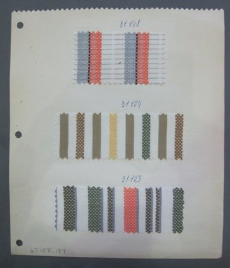 Fab-Tex Inc.. <em>Fabric Swatch</em>, 1963-1966. Cotton and synthetic, sheet: 8 1/4 x 9 1/2 in. (21 x 24.1 cm). Brooklyn Museum, Gift of Fab-Tex Inc., 67.158.187 (Photo: Brooklyn Museum, CUR.67.158.187.jpg)
