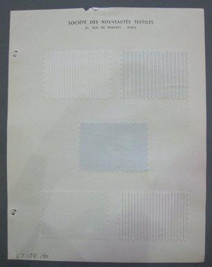Fab-Tex Inc.. <em>Fabric Swatch</em>, 1963-1966. Silk (or synthetic?), sheet: 8 1/4 x 10 1/2 in. (21 x 26.7 cm). Brooklyn Museum, Gift of Fab-Tex Inc., 67.158.190 (Photo: Brooklyn Museum, CUR.67.158.190.jpg)