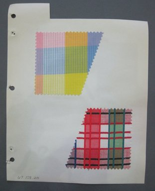 Fab-Tex Inc.. <em>Fabric Swatch</em>, 1963-1966. Cotton, sheet: 8 1/4 x 10 1/2 in. (21 x 26.7 cm). Brooklyn Museum, Gift of Fab-Tex Inc., 67.158.20 (Photo: Brooklyn Museum, CUR.67.158.20.jpg)