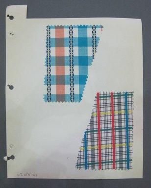 Fab-Tex Inc.. <em>Fabric Swatch</em>, 1963-1966. Cotton, sheet: 8 1/4 x 10 1/2 in. (21 x 26.7 cm). Brooklyn Museum, Gift of Fab-Tex Inc., 67.158.21 (Photo: Brooklyn Museum, CUR.67.158.21.jpg)