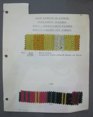 Fab-Tex Inc.. <em>Fabric Swatch</em>, 1963-1966. Synthetic - acetate., sheet: 8 1/4 x 10 1/2 in. (21 x 26.7 cm). Brooklyn Museum, Gift of Fab-Tex Inc., 67.158.214 (Photo: Brooklyn Museum, CUR.67.158.214.jpg)
