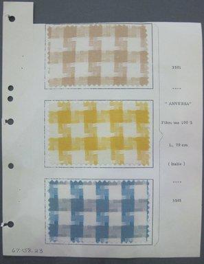 Fab-Tex Inc.. <em>Fabric Swatch</em>, 1963-1966. Silk, sheet: 8 1/4 x 10 1/2 in. (21 x 26.7 cm). Brooklyn Museum, Gift of Fab-Tex Inc., 67.158.23 (Photo: Brooklyn Museum, CUR.67.158.23.jpg)