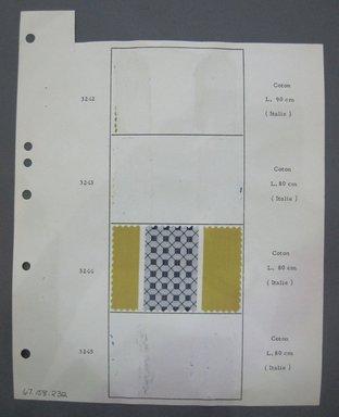 Fab-Tex Inc.. <em>Fabric Swatch</em>, 1963-1966. Cotton, sheet: 8 1/4 x 10 1/2 in. (21 x 26.7 cm). Brooklyn Museum, Gift of Fab-Tex Inc., 67.158.232 (Photo: Brooklyn Museum, CUR.67.158.232.jpg)