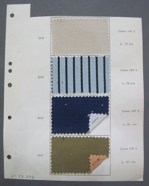 Fab-Tex Inc.. <em>Fabric Swatch</em>, 1963-1966. Cotton, sheet: 8 1/4 x 10 1/2 in. (21 x 26.7 cm). Brooklyn Museum, Gift of Fab-Tex Inc., 67.158.234 (Photo: Brooklyn Museum, CUR.67.158.234.jpg)