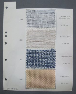 Fab-Tex Inc.. <em>Fabric Swatch</em>, 1963-1966. Cotton and synthetic, sheet: 8 1/4 x 10 1/2 in. (21 x 26.7 cm). Brooklyn Museum, Gift of Fab-Tex Inc., 67.158.236 (Photo: Brooklyn Museum, CUR.67.158.236.jpg)