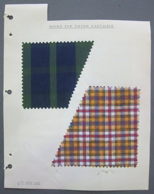 Fab-Tex Inc.. <em>Fabric Swatch</em>, 1963-1966. Silk and cotton, sheet: 8 1/4 x 10 1/2 in. (21 x 26.7 cm). Brooklyn Museum, Gift of Fab-Tex Inc., 67.158.25 (Photo: Brooklyn Museum, CUR.67.158.25.jpg)