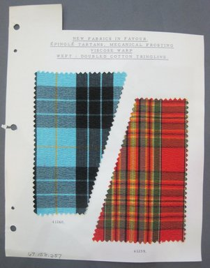 Fab-Tex Inc.. <em>Fabric Swatch</em>, 1963-1966. Synthetic, sheet: 8 1/4 x 10 1/2 in. (21 x 26.7 cm). Brooklyn Museum, Gift of Fab-Tex Inc., 67.158.257 (Photo: Brooklyn Museum, CUR.67.158.257.jpg)