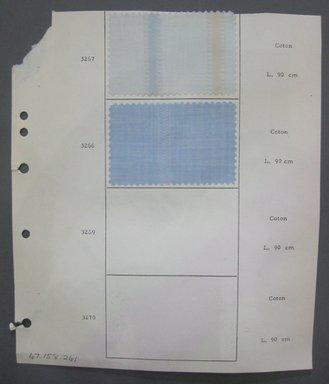 Fab-Tex Inc.. <em>Fabric Swatch</em>, 1963-1966. Cotton, sheet: 8 1/4 x 9 1/2 in. (21 x 24.1 cm). Brooklyn Museum, Gift of Fab-Tex Inc., 67.158.261 (Photo: Brooklyn Museum, CUR.67.158.261.jpg)