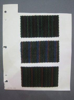 Fab-Tex Inc.. <em>Fabric Swatch</em>, 1963-1966. Wool, paper, sheet: 10 1/2 x 8 1/4 in. (26.7 x 21 cm). Brooklyn Museum, Gift of Fab-Tex Inc., 67.158.270 (Photo: Brooklyn Museum, CUR.67.158.270.jpg)