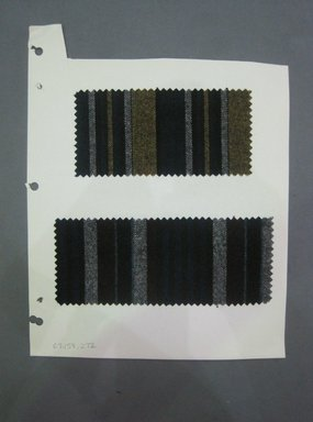 Fab-Tex Inc.. <em>Fabric Swatch</em>, 1963-1966. Wool, paper, sheet: 10 1/2 x 8 1/4 in. (26.7 x 21 cm). Brooklyn Museum, Gift of Fab-Tex Inc., 67.158.272 (Photo: Brooklyn Museum, CUR.67.158.272.jpg)