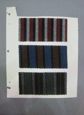 Fab-Tex Inc.. <em>Fabric Swatch</em>, 1963-1966. Wool, paper, sheet: 10 1/2 x 8 1/4 in. (26.7 x 21 cm). Brooklyn Museum, Gift of Fab-Tex Inc., 67.158.273 (Photo: Brooklyn Museum, CUR.67.158.273.jpg)