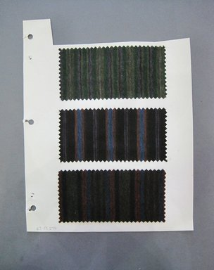 Fab-Tex Inc.. <em>Fabric Swatch</em>, 1963-1966. Wool, paper, sheet: 10 1/2 x 8 1/4 in. (26.7 x 21 cm). Brooklyn Museum, Gift of Fab-Tex Inc., 67.158.274 (Photo: Brooklyn Museum, CUR.67.158.274.jpg)