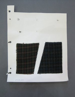 Fab-Tex Inc.. <em>Fabric Swatch</em>, 1963-1966. Wool, paper, sheet: 10 1/2 x 8 1/4 in. (26.7 x 21 cm). Brooklyn Museum, Gift of Fab-Tex Inc., 67.158.278 (Photo: Brooklyn Museum, CUR.67.158.278.jpg)