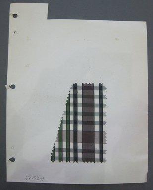 Fab-Tex Inc.. <em>Fabric Swatch</em>, 1963-1966. Cotton, 3 1/4 x 4 1/2 in. (8.3 x 11.4 cm). Brooklyn Museum, Gift of Fab-Tex Inc., 67.158.4 (Photo: Brooklyn Museum, CUR.67.158.4.jpg)