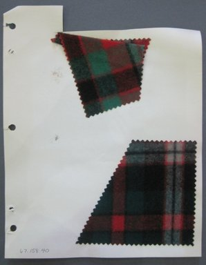 Fab-Tex Inc.. <em>Fabric Swatch</em>, 1963-1966. Wool, sheet: 8 1/4 x 10 1/2 in. (21 x 26.7 cm). Brooklyn Museum, Gift of Fab-Tex Inc., 67.158.40 (Photo: Brooklyn Museum, CUR.67.158.40.jpg)
