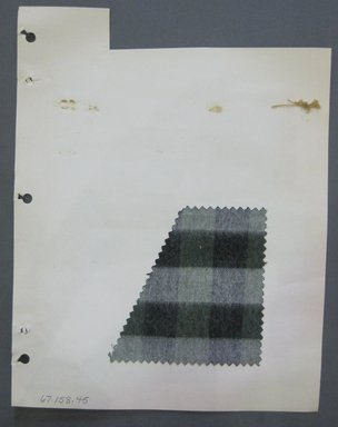Fab-Tex Inc.. <em>Fabric Swatch</em>, 1963-1966. Cotton, sheet: 8 1/4 x 4 3/16 in. (21 x 10.7 cm). Brooklyn Museum, Gift of Fab-Tex Inc., 67.158.45 (Photo: Brooklyn Museum, CUR.67.158.45.jpg)