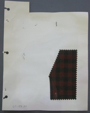 Fab-Tex Inc.. <em>Fabric Swatch</em>, 1963-1966. Wool, sheet: 8 1/4 x 10 1/2 in. (21 x 26.7 cm). Brooklyn Museum, Gift of Fab-Tex Inc., 67.158.51 (Photo: Brooklyn Museum, CUR.67.158.51.jpg)
