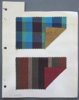 Fab-Tex Inc.. <em>Fabric Swatch</em>, 1963-1966. Cotton (synthetic blend?), sheet: 8 1/4 x 10 1/2 in. (21 x 26.7 cm). Brooklyn Museum, Gift of Fab-Tex Inc., 67.158.53 (Photo: Brooklyn Museum, CUR.67.158.53.jpg)