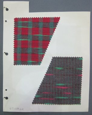 Fab-Tex Inc.. <em>Fabric Swatch</em>, 1963-1966. Cotton, sheet: 8 1/4 x 10 1/2 in. (21 x 26.7 cm). Brooklyn Museum, Gift of Fab-Tex Inc., 67.158.62 (Photo: Brooklyn Museum, CUR.67.158.62.jpg)