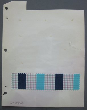 Fab-Tex Inc.. <em>Fabric Swatch</em>, 1963-1966. Cotton, sheet: 8 1/4 x 10 1/2 in. (21 x 26.7 cm). Brooklyn Museum, Gift of Fab-Tex Inc., 67.158.68 (Photo: Brooklyn Museum, CUR.67.158.68.jpg)