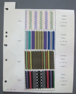 Fab-Tex Inc.. <em>Fabric Swatch</em>, 1963-1966. Cotton, sheet: 8 1/4 x 10 1/2 in. (21 x 26.7 cm). Brooklyn Museum, Gift of Fab-Tex Inc., 67.158.70 (Photo: Brooklyn Museum, CUR.67.158.70.jpg)