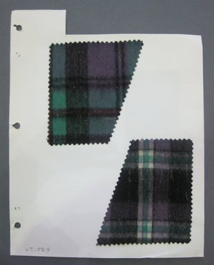 Fab-Tex Inc.. <em>Fabric Swatch</em>, 1963-1966. Wool (possibly with cotton blend), sheet: 8 1/4 x 10 1/2 in. (21 x 26.7 cm). Brooklyn Museum, Gift of Fab-Tex Inc., 67.158.9 (Photo: Brooklyn Museum, CUR.67.158.9.jpg)