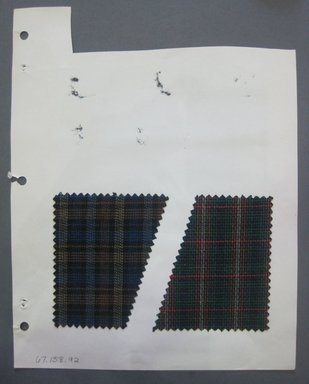 Fab-Tex Inc.. <em>Fabric Swatch</em>, 1963-1966. Wool (blended with cotton?), sheet: 8 1/4 x 10 1/2 in. (21 x 26.7 cm). Brooklyn Museum, Gift of Fab-Tex Inc., 67.158.92 (Photo: Brooklyn Museum, CUR.67.158.92.jpg)