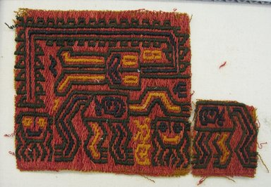 Paracas Necropolis. <em>Textile Fragments, unascertainable or possible Mantle, Fragments</em>, 200-600. Cotton, camelid fiber, a: 3 1/2 × 3 1/8 in. (8.9 × 7.9 cm). Brooklyn Museum, Gift of Adelaide Goan, 67.159.10a-b. Creative Commons-BY (Photo: Brooklyn Museum, CUR.67.159.10a-b.jpg)
