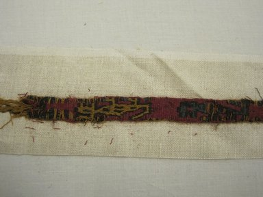 Nazca-Wari. <em>Belt, Fragment or Headband, Fragment</em>, 200-1000. Camelid fiber, 9/16 x 22 1/16 in. (1.5 x 56 cm). Brooklyn Museum, Gift of Adelaide Goan, 67.159.20. Creative Commons-BY (Photo: Brooklyn Museum, CUR.67.159.20_view2.jpg)