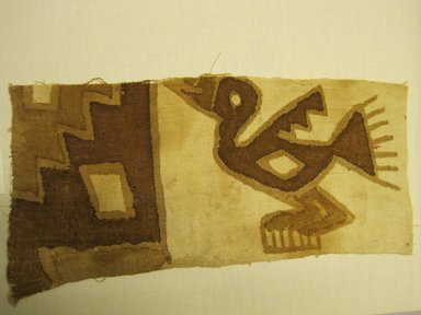 Chimú (Attributed by Nobuko Kajitani, 1993. <em>Textile Fragment, unascertainable or possible Dress, Fragment</em>, 1000-1532. Cotton, pigment, 5 7/8 x 13 3/8 in. (14.9 x 34 cm). Brooklyn Museum, Gift of Adelaide Goan, 67.159.46. Creative Commons-BY (Photo: Brooklyn Museum, CUR.67.159.46.jpg)