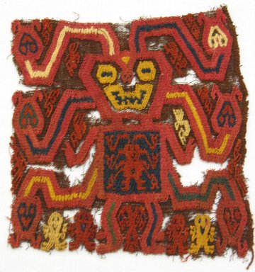 Paracas Necropolis. <em>Textile Fragment, unascertainable, Border or Mantle, Fragment</em>, 800 B.C.E.-600 C.E. Textile. Cotton, camelid fiber, 5 1/2 x 5 7/8 in. (14 x 15 cm). Brooklyn Museum, Gift of Adelaide Goan, 67.159.9. Creative Commons-BY (Photo: Brooklyn Museum, CUR.67.159.9.jpg)
