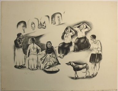 George Biddle (American, 1885-1973). <em>Washtub Gossip</em>, 1928. Lithograph, 12 x 15 3/4 in. (30.5 x 40 cm). Brooklyn Museum, Gift of George Biddle, 67.185.13. © artist or artist's estate (Photo: Brooklyn Museum, CUR.67.185.13.jpg)