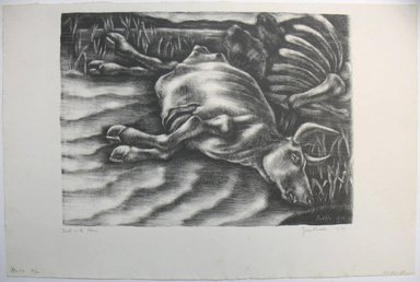 George Biddle (American, 1885-1973). <em>Death on the Plains</em>, 1936. Lithograph, 10 x 13 3/4 in. (25.4 x 34.9 cm). Brooklyn Museum, Gift of George Biddle, 67.185.28. © artist or artist's estate (Photo: Brooklyn Museum, CUR.67.185.28.jpg)
