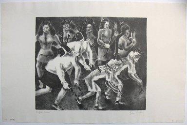 George Biddle (American, 1885-1973). <em>Buffalo Dance</em>, 1937. Lithograph, 10 x 12 in. (25.4 x 30.5 cm). Brooklyn Museum, Gift of George Biddle, 67.185.34. © artist or artist's estate (Photo: Brooklyn Museum, CUR.67.185.34.jpg)