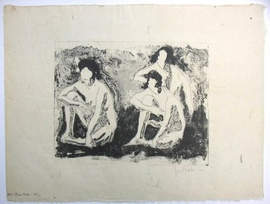 George Biddle (American, 1885-1973). <em>Nude Figures Seated, or Three Nudes</em>, 1921. Lithograph, 8 1/4 x 10 3/8 in. (21 x 26.4 cm). Brooklyn Museum, Gift of George Biddle, 67.185.4. © artist or artist's estate (Photo: Brooklyn Museum, CUR.67.185.4.jpg)