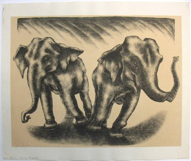 George Biddle (American, 1885-1973). <em>Dancing Elephants</em>, 1952. Lithograph, 13 7/8 x 18 1/8 in. (35.2 x 46 cm). Brooklyn Museum, Gift of George Biddle, 67.185.41. © artist or artist's estate (Photo: Brooklyn Museum, CUR.67.185.41.jpg)