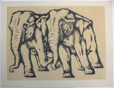 George Biddle (American, 1885-1973). <em>Two Elephants</em>, 1951. Lithograph, 12 7/8 x 17 1/8 in. (32.7 x 43.5 cm). Brooklyn Museum, Gift of George Biddle, 67.185.43. © artist or artist's estate (Photo: Brooklyn Museum, CUR.67.185.43.jpg)