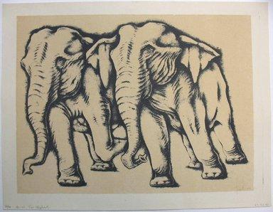 George Biddle (American, 1885-1973). <em>Two Elephants</em>, 1951. Lithograph, 12 7/8 x 17 1/8 in. (32.7 x 43.5 cm). Brooklyn Museum, Gift of George Biddle, 67.185.43. © artist or artist's estate (Photo: Brooklyn Museum, CUR.67.185.43.jpg)