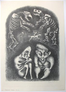 George Biddle (American, 1885-1973). <em>Caveman's Dream</em>, 1951. Lithograph, 16 1/2 x 11 3/4 in. (41.9 x 29.8 cm). Brooklyn Museum, Gift of George Biddle, 67.185.48. © artist or artist's estate (Photo: Brooklyn Museum, CUR.67.185.48.jpg)