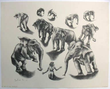 George Biddle (American, 1885-1973). <em>Ten Elephants</em>, 1952. Lithograph, 13 x 16 in. (33 x 40.6 cm). Brooklyn Museum, Gift of George Biddle, 67.185.50. © artist or artist's estate (Photo: Brooklyn Museum, CUR.67.185.50.jpg)