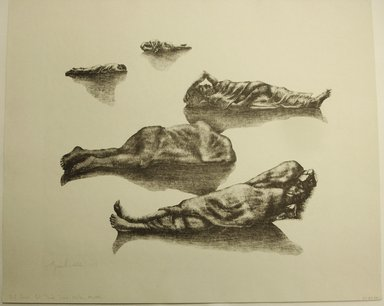 George Biddle (American, 1885-1973). <em>Not Dead But Tired</em>, 1959. Lithograph, 12 1/2 x 15 1/2 in. (31.8 x 39.4 cm). Brooklyn Museum, Gift of George Biddle, 67.185.74. © artist or artist's estate (Photo: Brooklyn Museum, CUR.67.185.74.jpg)
